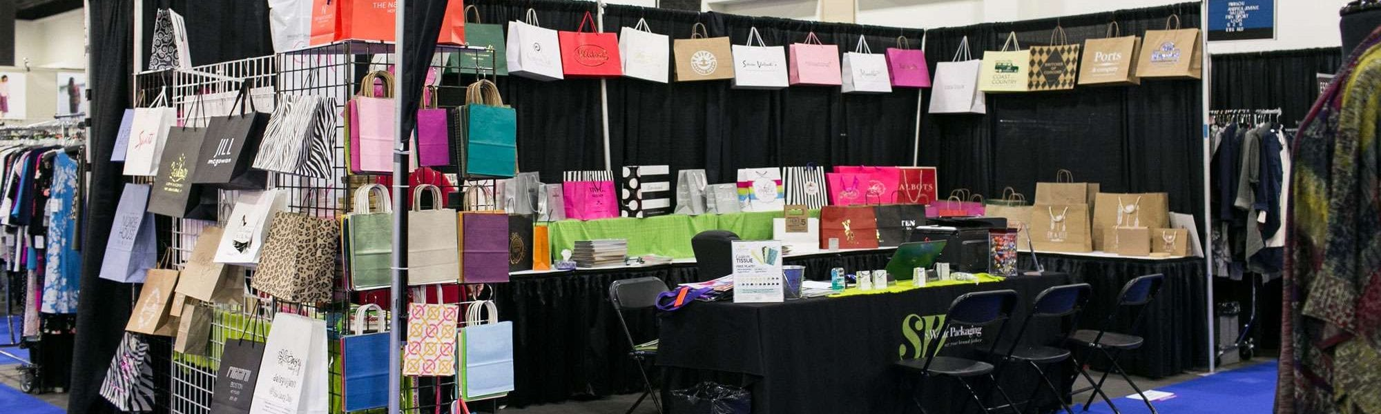 S. Walter Packaging booth on display at the New England Apparel Club's trade show at the DCU Center in Worcester, MA