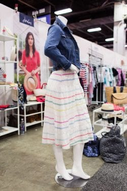 a mannequin at the Joules trade show booth wearing a striped dress and jean jacket