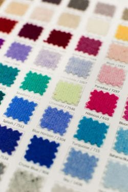 a sheet of fabric color swatches