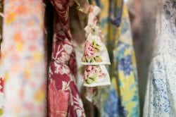 a close-up of colorful floral fabrics