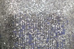 a close up of a silver sequin dress