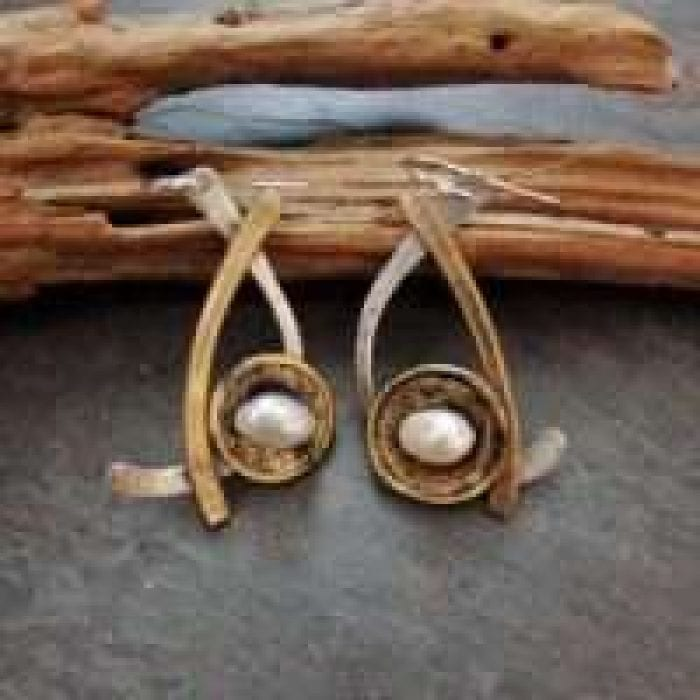 Handmade metal pearl earrings