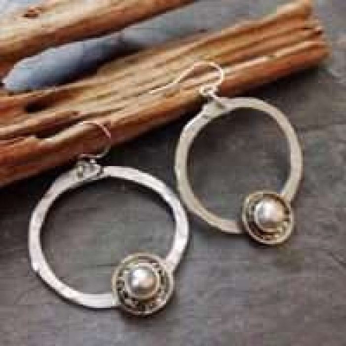 Mixed metal pearl earrings