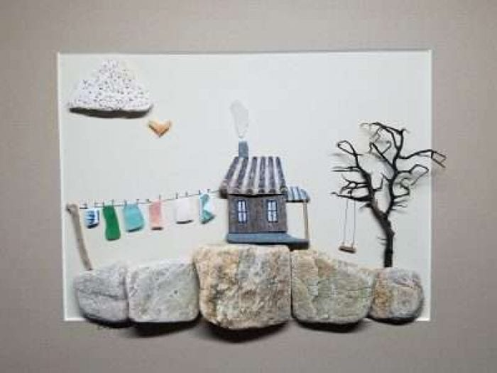 Beach Stone & Sea Glass clothesline