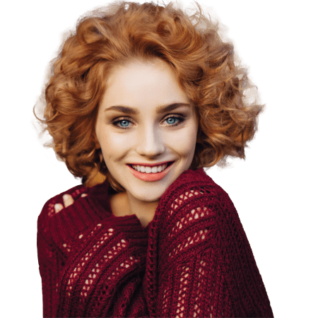 red haired model in maroon sweater