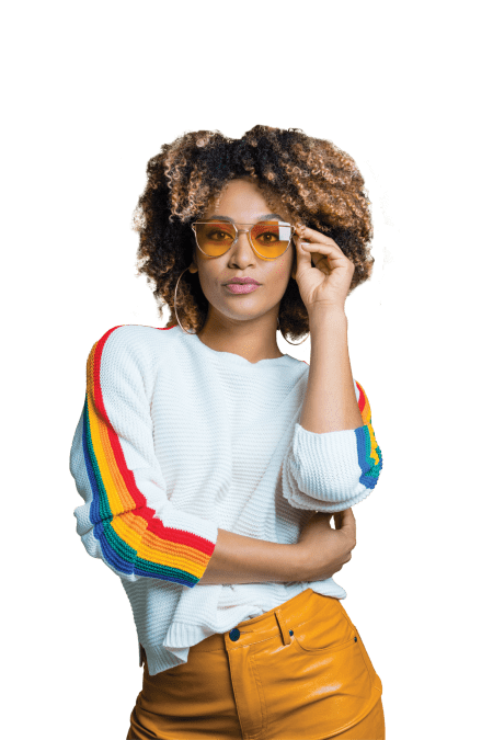 Woman with a rainbow on her shirt